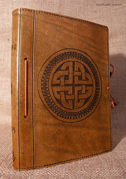 A5 brown leather journal - celtic circle knot design 2 - earthworks journals - A5C014
