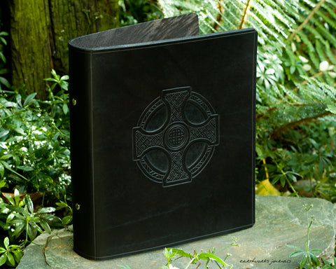 A5 black leather 2 ring binder - celtic cross design - earthworks journals A5B012