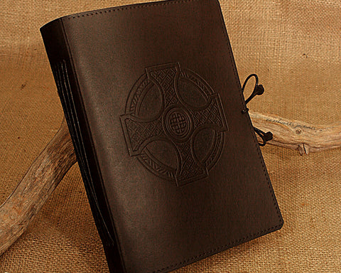 A5 black leather journal - celtic cross design - earthworks journals - A5C024