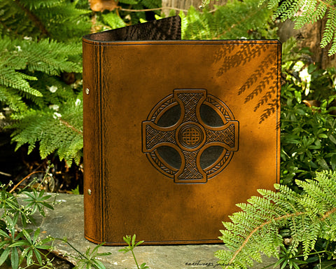 A5 brown leather 2 ring binder - celtic cross design - earthworks journals A5B004