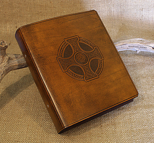 A5 brown leather 2 ring binder - celtic cross design 2 - earthworks journals A5B004
