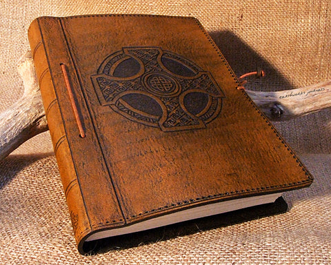 A5 brown leather journal - celtic cross design - earthworks journals - A5C012