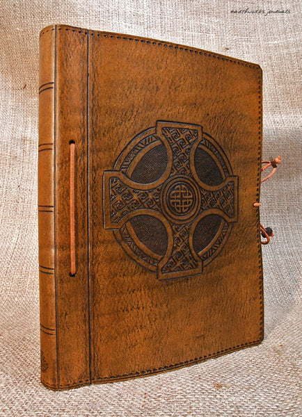 A5 brown leather journal - celtic cross design 2 - earthworks journals - A5C012