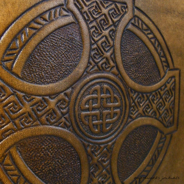 A4 brown leather journal - celtic cross design detail - earthworks journals A4C013