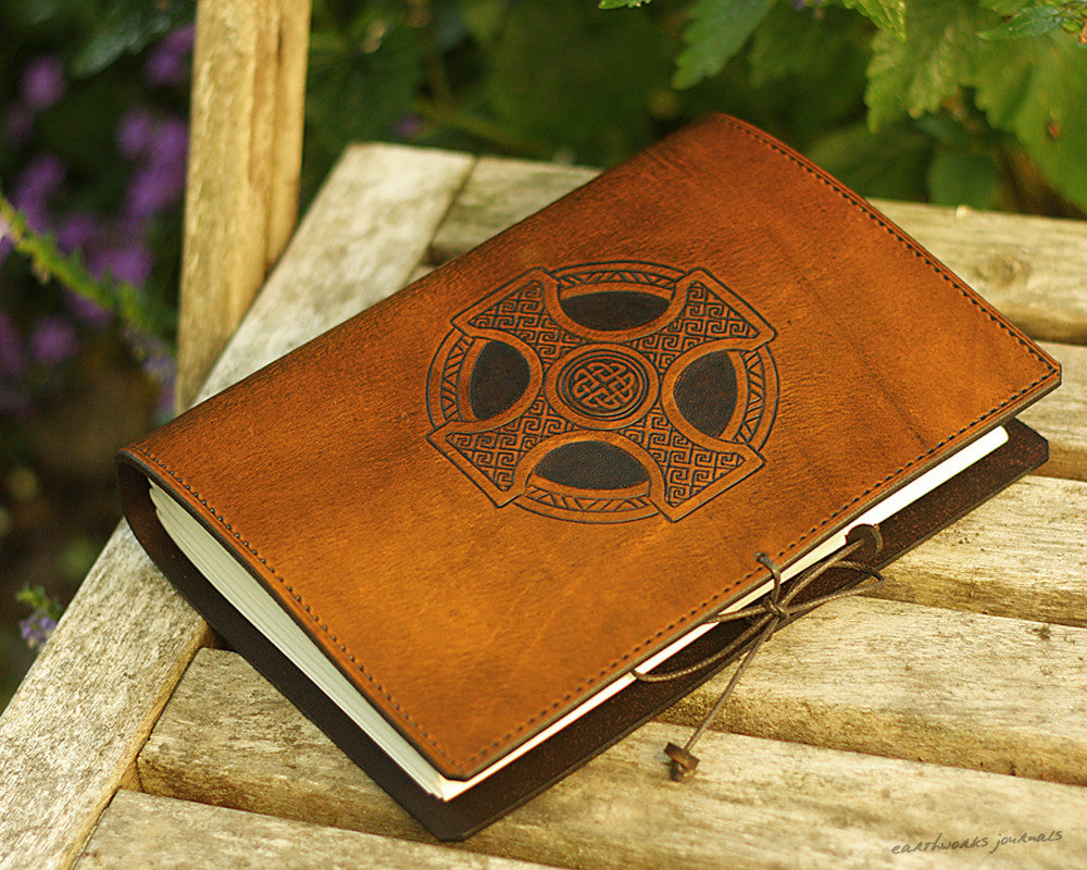A5 brown leather journal - celtic cross - earthworks journals - A5C027