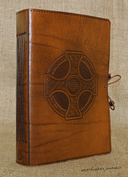 A5 brown leather journal - celtic cross 3 - earthworks journals - A5C027