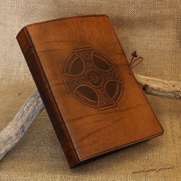 A5 brown leather journal - celtic cross 2 - earthworks journals - A5C027