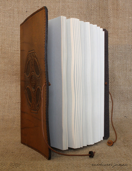 A5 brown leather journal - celtic cross open - earthworks journals - A5C027