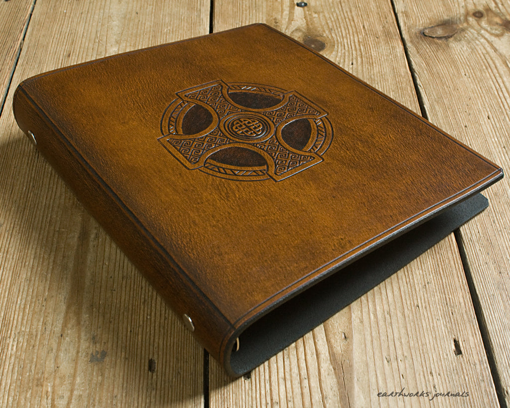A5 brown leather 6 ring binder - organiser - planner - celtic cross design - earthworks journals A5F007