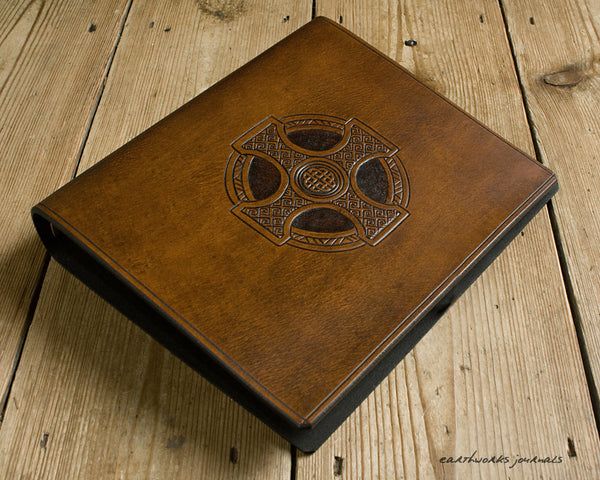 A5 brown leather 6 ring binder - organiser - planner - celtic cross design 3 - earthworks journals A5F007