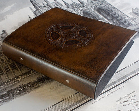 A5 dark brown leather 2 ring binder - celtic cross design - earthworks journals A5B010