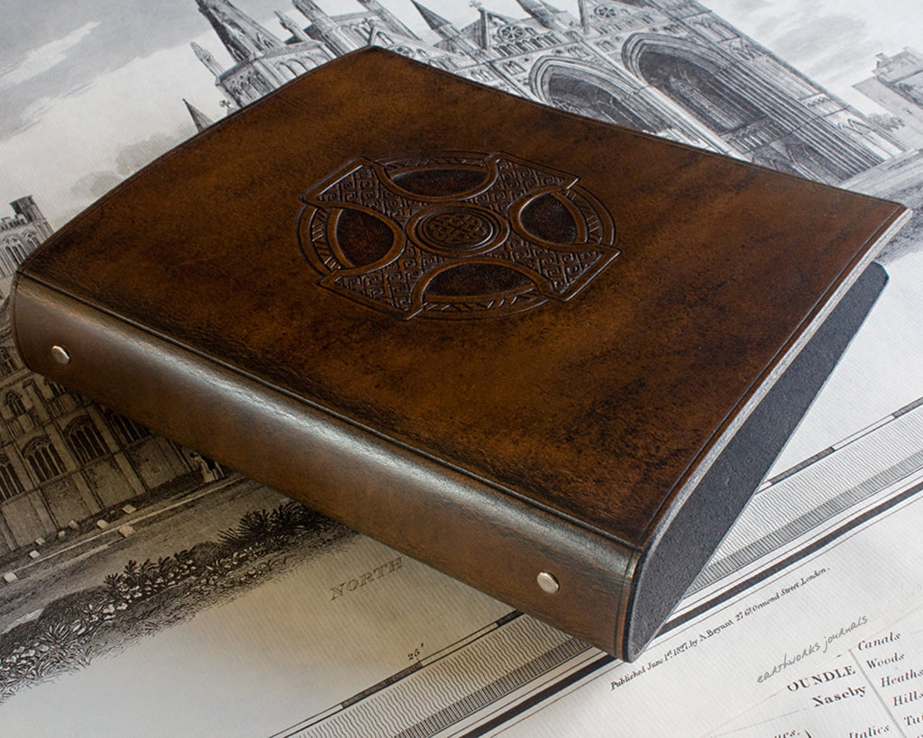 A5 dark brown leather 6 ring binder - organiser - planner - celtic cross design - earthworks journals A5F006