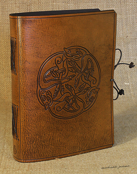 A5 brown leather journal - celtic dogs 3 - earthworks journals - A5C036