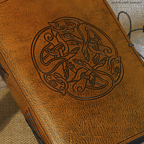 A5 brown leather journal - celtic dogs detail - earthworks journals - A5C036