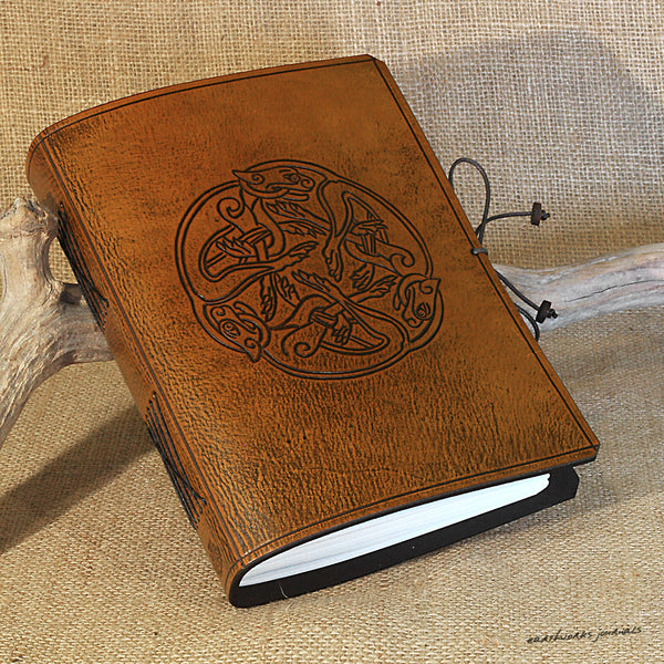 A5 brown leather journal - celtic dogs 2 - earthworks journals - A5C036