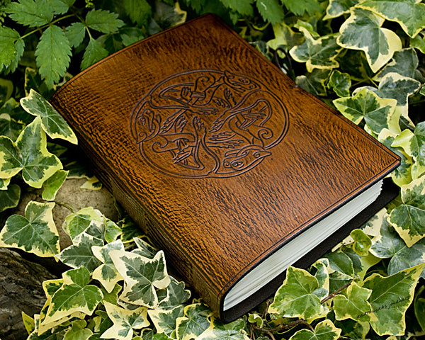 A5 brown leather journal - celtic dogs - earthworks journals - A5C036