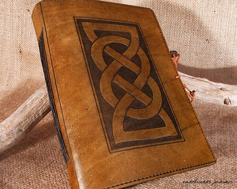 A5 brown leather journal - celtic friendship lovers knot - earthworks journals - A5C011