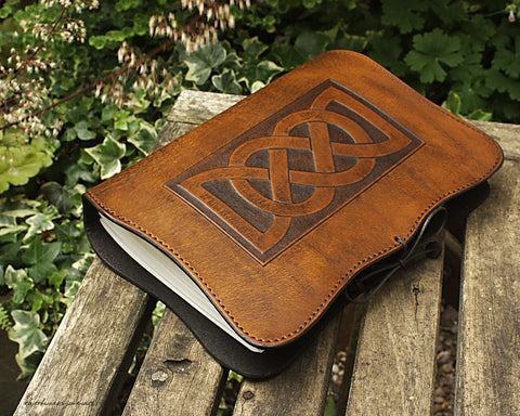 A5 brown leather journal - celtic friendship lovers knot - earthworks journals - A5C019
