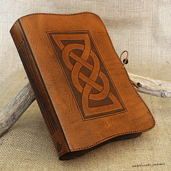 A5 brown leather journal - celtic friendship lovers knot 2 - earthworks journals - A5C019