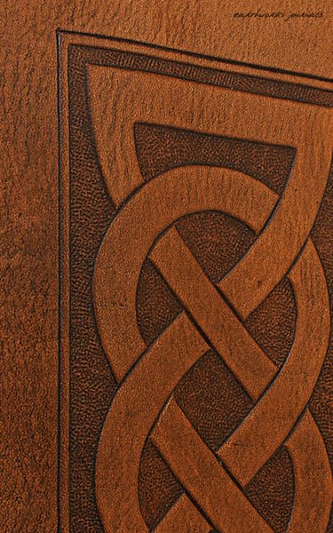 A5 brown leather journal - celtic friendship lovers knot detail - earthworks journals - A5C019