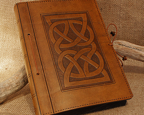 A5 brown leather journal - celtic knot - earthworks journals - A5C001
