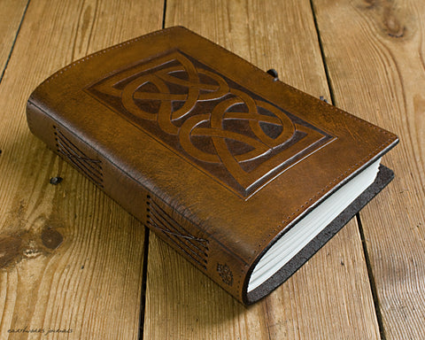 A5 brown leather journal - celtic knot 3 - earthworks journals - A5C017