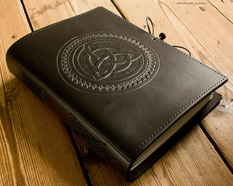 A5 black leather journal - celtic triquetra - earthworks journals - A5C046