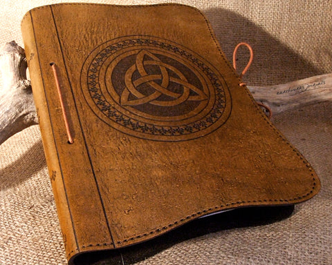 A5 brown leather journal - celtic triquetra design - earthworks journals - A5C010
