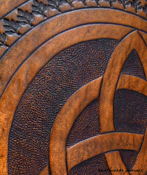 A4 brown leather journal - book of shadows - celtic triquetra detail - earthworks journals A4C004