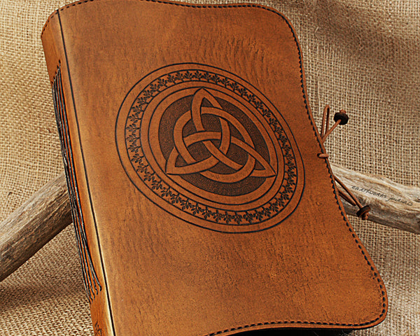 A5 brown leather journal - celtic triquetra - earthworks journals - A5C013