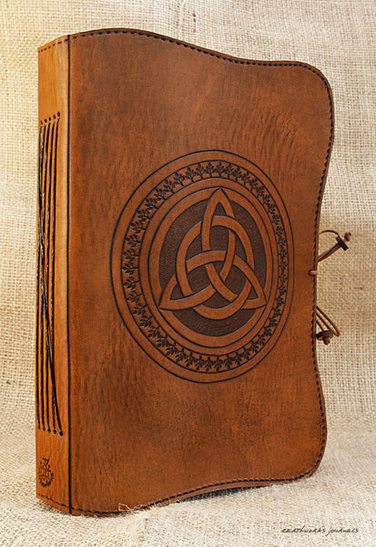 A5 brown leather journal - celtic triquetra 2 - earthworks journals - A5C013