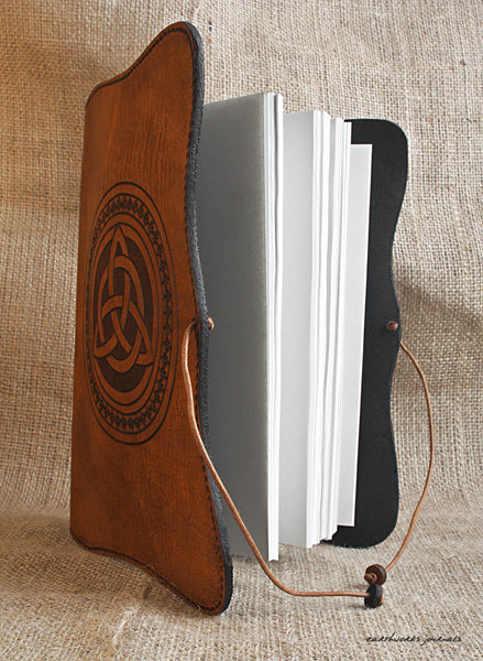 A5 brown leather journal - celtic triquetra 3 - earthworks journals - A5C013