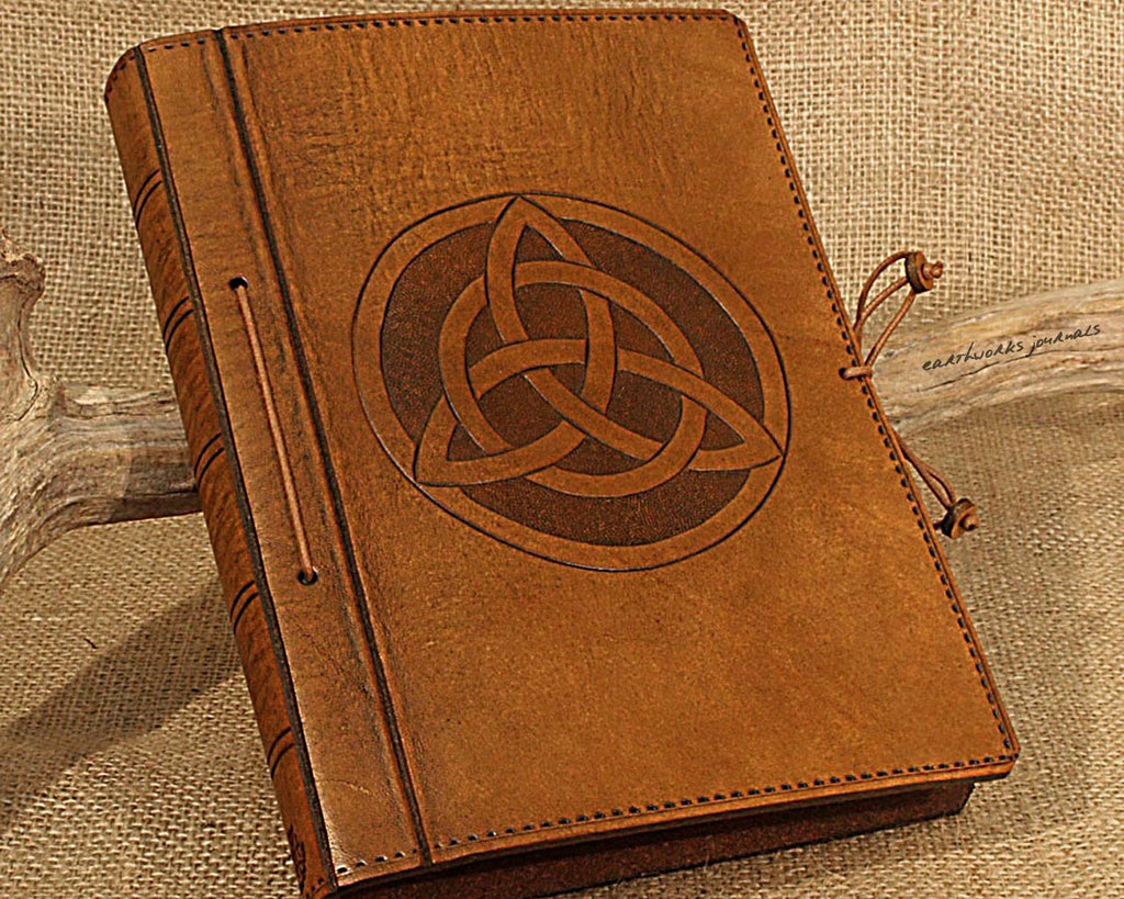 A5 brown leather journal - celtic triquetra - earthworks journals - A5C021