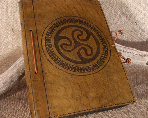 A5 brown leather journal - celtic triskele spiral - earthworks journals - A5C009