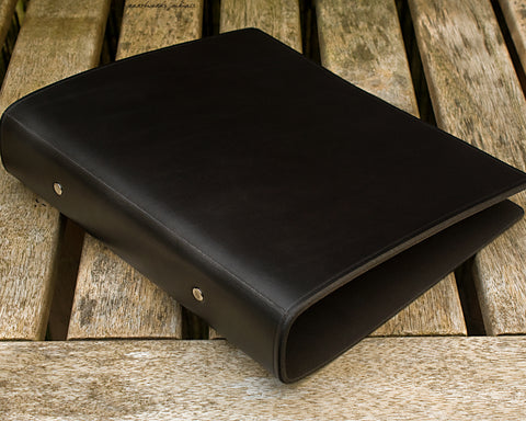 A5 black leather 2 ring binder - plain classic 2 - earthworks journals A5B003