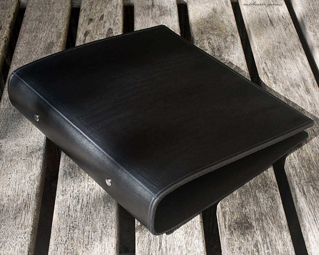 A5 black leather 2 ring binder - plain classic - earthworks journals A5B003