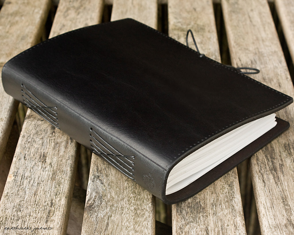 a5 classic black leather journal - permanently bound - earthworks journals - A5PC002
