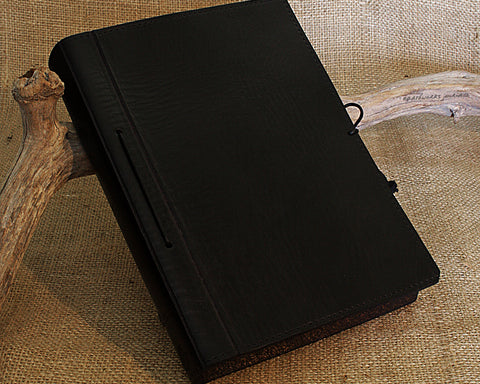 A5 black leather journal - plain classic - earthworks journals A5PC004