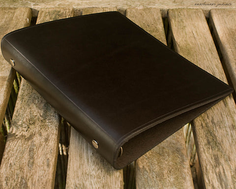 A5 black leather 6 ring binder - organiser - planner - plain classic 2 - earthworks journals A5F002