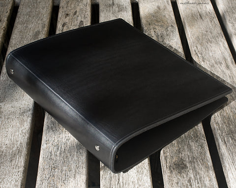 A5 black leather 6 ring binder - organiser - planner - plain classic - earthworks journals A5F002