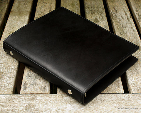 A5 black leather slimline 6 ring binder - organiser - planner - plain classic - earthworks journals A5SF002