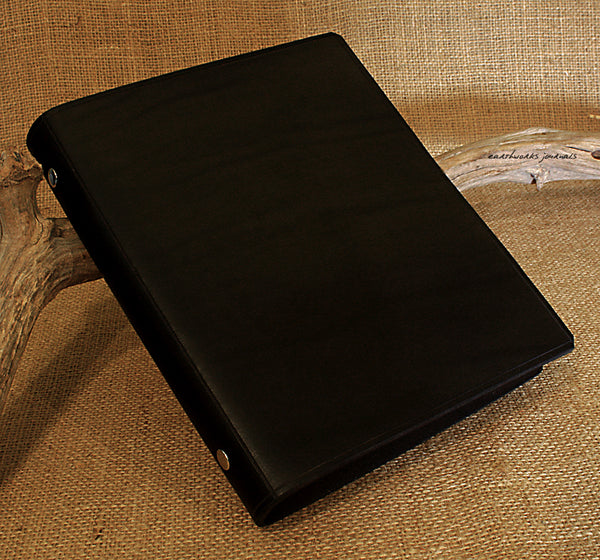 A5 black leather slimline 6 ring binder - organiser - planner - plain classic 2 - earthworks journals A5SF002