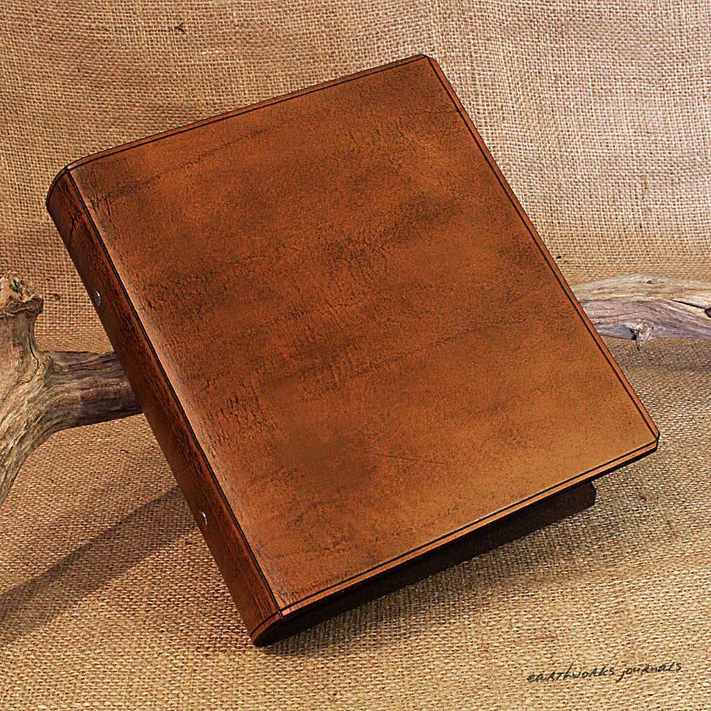 A5 Brown Leather 2 Ring Binder, Plain Classic Presentation