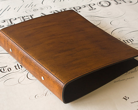 A5 brown leather 2 ring binder - plain classic - earthworks journals A5B002