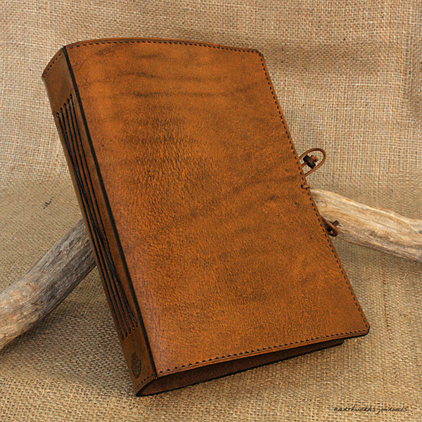 A5 brown leather journal - plain classic - earthworks journals A5PC001