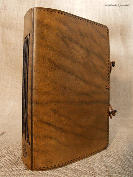 A5 brown leather journal - plain classic 2 - earthworks journals A5PC001
