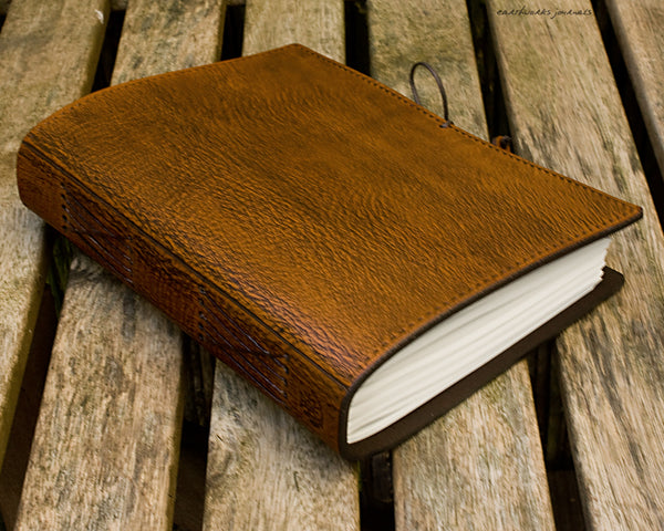A5 brown leather journal - plain classic 4 - earthworks journals A5PC001