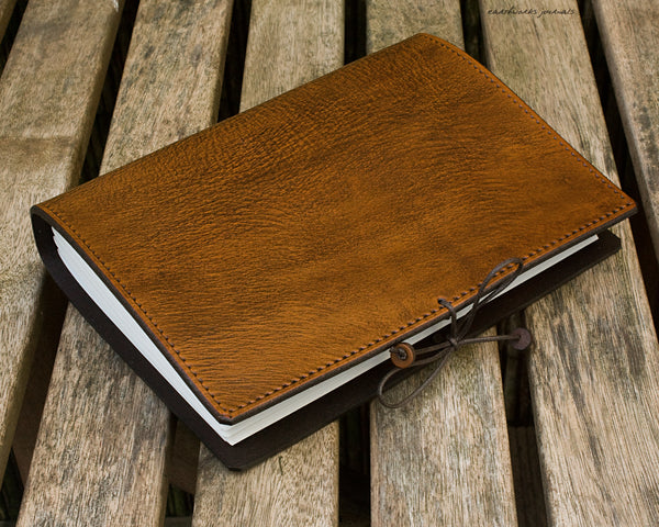 A5 brown leather journal - plain classic 5 - earthworks journals A5PC001