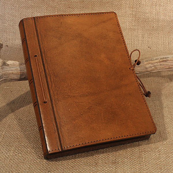 A5 brown leather journal - plain classic - earthworks journals A5PC003