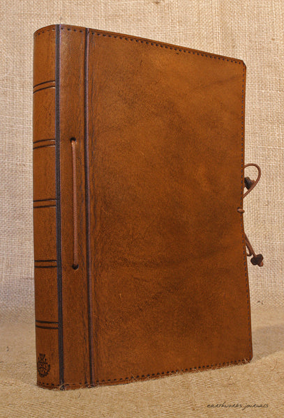 A5 brown leather journal - plain classic 2 - earthworks journals A5PC003